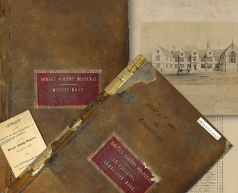A selection of the hospital's records at Dorset History Centre