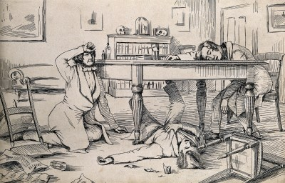 The effects of chloroform on Simpson and his friends. Credit: Wellcome Library, London.