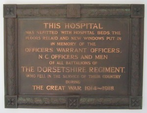 The war memorial at Dorset County Hospital