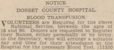 A notice calling for blood donors, published two days before war was declared in 1939